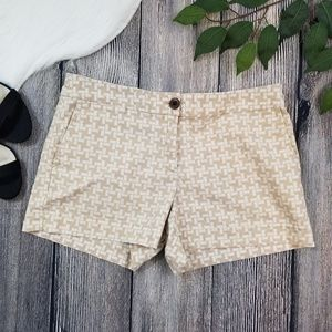 Ann Taylor LOFT Tan and White Printed Shorts